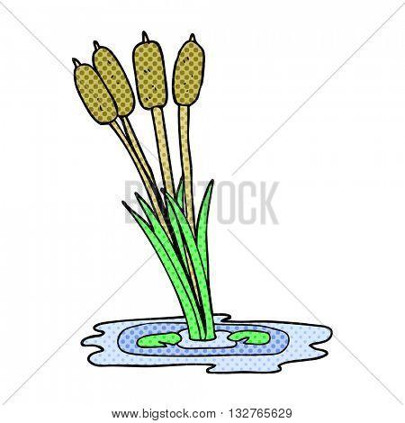 freehand drawn cartoon reeds