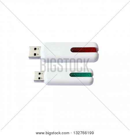 USB flash drive on white color background