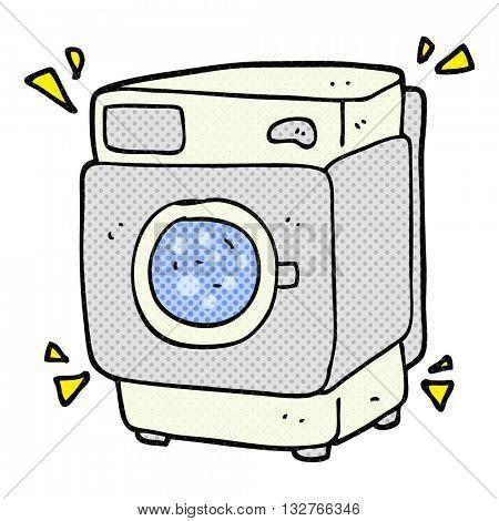 freehand drawn cartoon rumbling washing machine