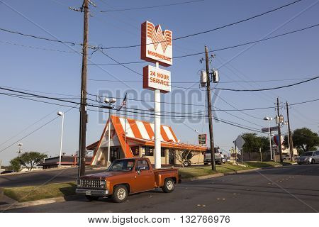 FORT WORTH USA - APR 6: American fast food chain restaurant Whataburger in Texas. April 6 2016 in Fort Worth Texas USA