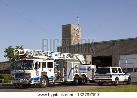 FORT WORTH USA - APR 6: Fort Worth Fire Truck in front of the firehouse. April 6 2016 in Fort Worth Texas USA