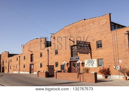 FORT WORTH USA - APR 6: Texas Cowboy Hall of Fame in Fort Worth Stockyards historic district. April 6 2016 in Fort Worth Texas USA