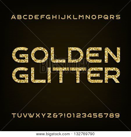 Golden glitter alphabet vector font. Letters and numbers. Stock vector font for your design.