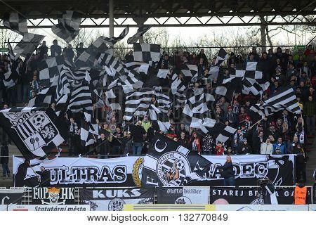 HRADEC KRALOVE 04/04/2015 _ Fans of FC Hradec Kralove. Match between FC Hradec Kralove and AC Sparta Praha