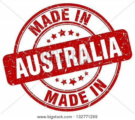 made in Australia red round vintage stamp.