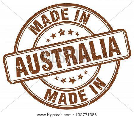 made in Australia brown round vintage stamp.