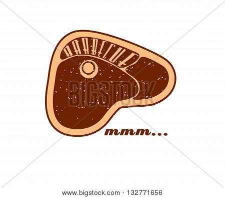 Vector. Grill meat: Barbecue - mmm...Summer BBQ. BBQ season. BBQ poster. Summer Picnic outdoor. Family BBQ day. BBQ related goods adv. Grilled steak logo. Isolated illustration cookout. Barbecue retro