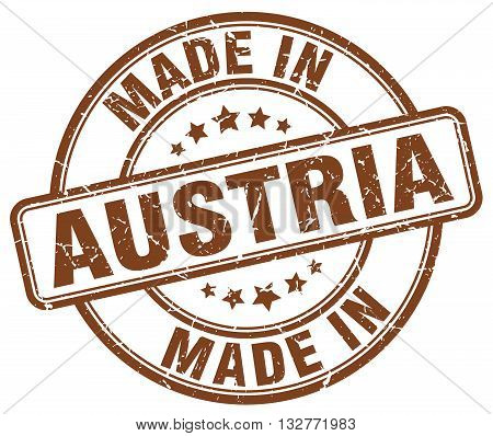 made in Austria brown round vintage stamp.Austria stamp.Austria seal.Austria tag.Austria.Austria sign.Austria.Austria label.stamp.made.in.made in.