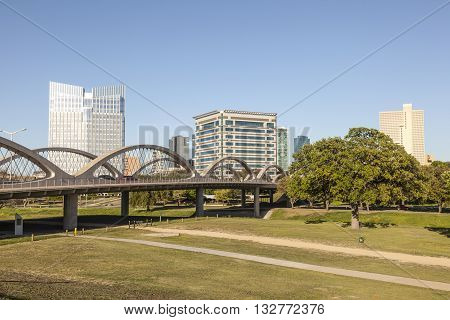 FORT WORTH USA - APR 6: The Wave shaped new West 7th Street Bridge over the Trinity River in Fort Worth. April 6 2016 in Fort Worth Texas USA