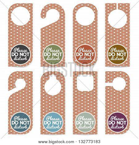 Set Of Door Hanger Please Do Not Disturb Vector Illustration. EPS 10