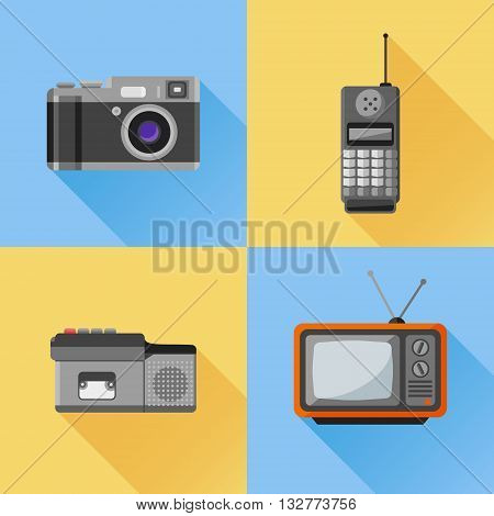 Set of retro flat icon. Photo camera, mobile phone, dictaphone, tv set. Vector illustration.
