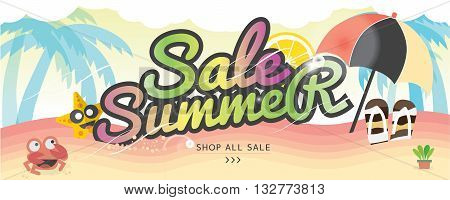 Summer Holiday Banner Summer Vacation Concept Vector Illustration 1500x600 px