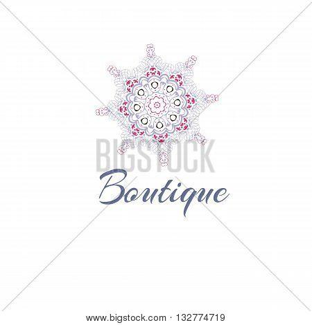 Gentle stylized logo. Company logo, stylized flower. Mandala logo. Business, invitations. Logotype with decorative elements. Retro Logo for boutique. Rigorous, concise logotype poster