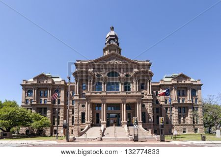 FORT WORTH USA - APR 6: Historic Tarrant County Courthouse from 1895. April 6 2016 in Fort Worth Texas USA