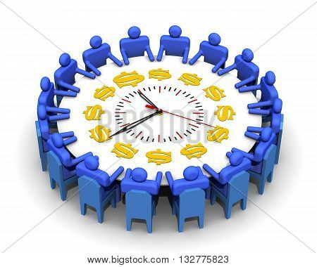 Time is money. The concept of adoption of anti-crisis solutions. Symbolic people sitting at a round table for meetings in the form of watch with symbols of US currency. Isolated. 3D Illustration