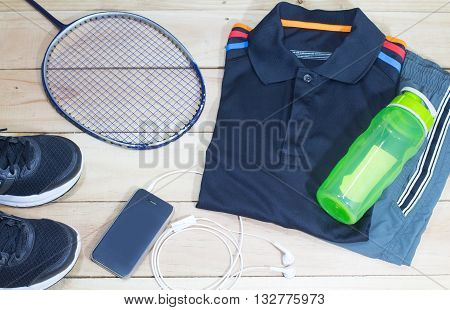athletic sportswear lifestyle overhead view. bottlesportswearsneakers and mobile phone