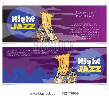 Jazz night saxophone music poster jazz banner jazz festival invitation flyer