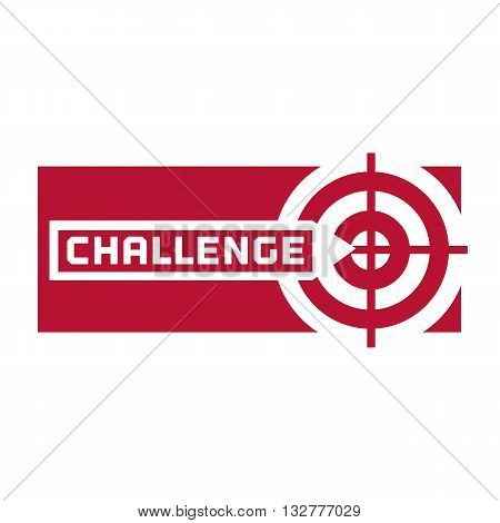 Quote Challenge. Motivation logo concept. Inspiration word. Target with arrow into the center. Challenging logo icon. Vector illustration.