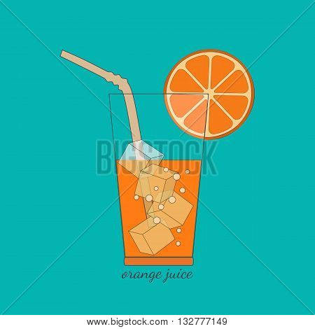 Citrus Fruits. Sliced orange in glass bubbles ice cubes. Fresh orange juice Concept. Organic natural fruit. Natural fruit squeezed. Vegetarian fresh healthy fitness juice. Vector Illustration