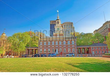 Independence Hall On Chestnut Street Of Philadelphia Pa