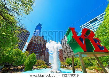 Love Sculpture In The Love Park In Philadelphia Pa