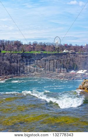 Niagara Falls In Us And View Of Ontario In Canada
