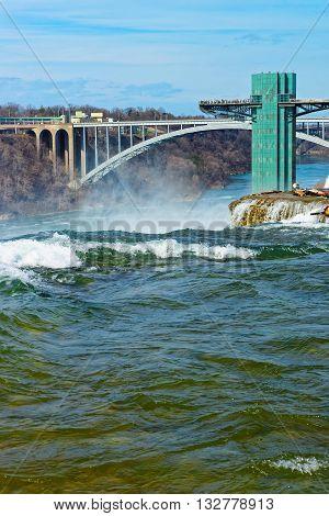 Tourists On Rainbow Bridge Over Niagara River Gorge