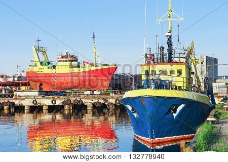 Two Ships In The Marina In Ventspils In Latvia
