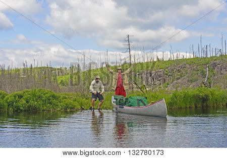 Made it over the Portage onto Kiskadinna Lake in the Boundary Waters in Minnesota