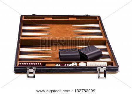 Backgammon Table With Dice And Chips Isolated On White