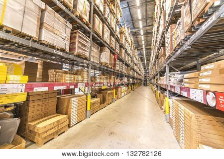 KUALA LUMPUR MALAYSIA - MAY 22 2016: Warehouse storage in an IKEA store. Founded in 1943 IKEA is the world's largest furniture retailer. IKEA operates 351 stores in 43 countries.