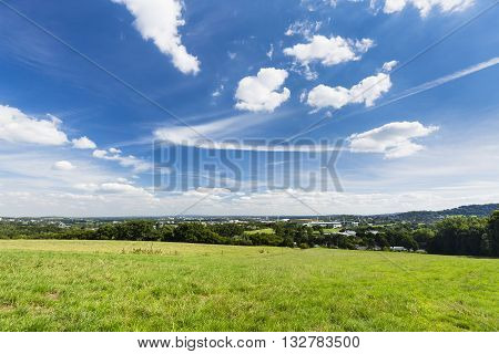 Aachen Panorama With Deep Blue Sky