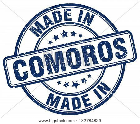 made in Comoros blue round vintage stamp.Comoros stamp.Comoros seal.Comoros tag.Comoros.Comoros sign.Comoros.Comoros label.stamp.made.in.made in.