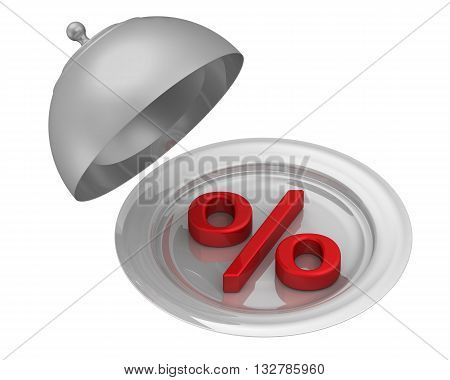 Symbol of percent on a serving tray. Red percent symbol is an open serving tray. Isolated. 3D Illustration