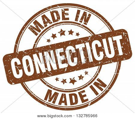 made in Connecticut brown round vintage stamp.Connecticut stamp.Connecticut seal.Connecticut tag.Connecticut.Connecticut sign.Connecticut.Connecticut label.stamp.made.in.made in.