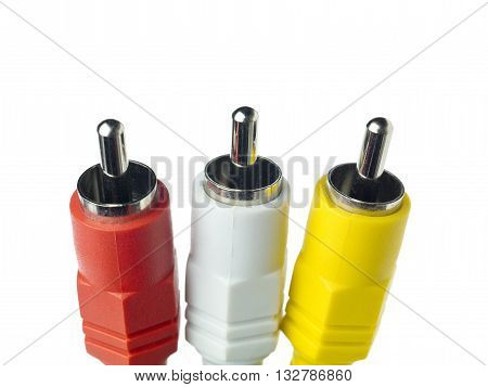 three jackplug isolated on a white background