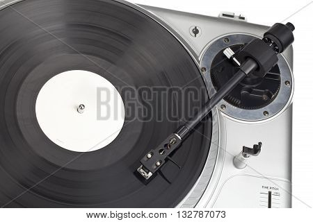 vinyl record and read write head isolated on a white background