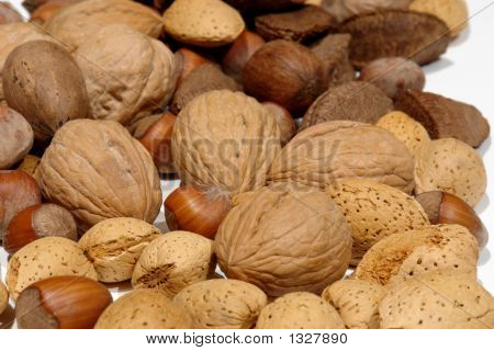 Mixed Nuts On White