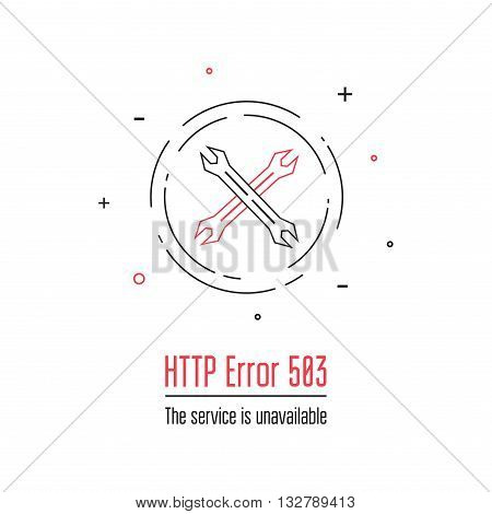Error 503 page. 503 service unavailable error icon. Internet error sign.