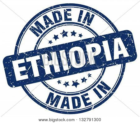 made in Ethiopia blue round vintage stamp.Ethiopia stamp.Ethiopia seal.Ethiopia tag.Ethiopia.Ethiopia sign.Ethiopia.Ethiopia label.stamp.made.in.made in.