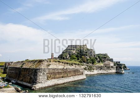 Europe Greece. Old fortress to Corfu is constructed on artificially created rocky island.
