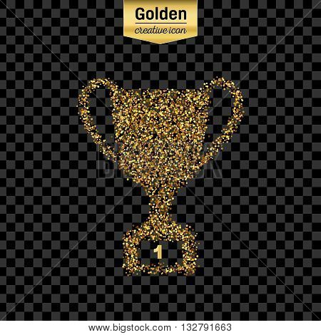 Gold glitter vector icon of trophy cup isolated on background. Art creative concept illustration for web, glow light confetti, bright sequins, sparkle tinsel, abstract bling, shimmer dust, foil.