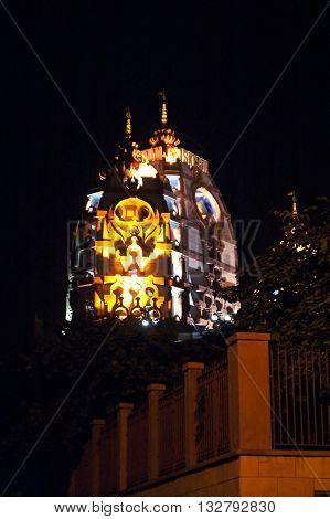 Sri Sri Radha Parthasarathi Mandir, generally known as the ISKCON Delhi temple, is a well known Vaishnav temple of Lord Krishna and Radharani in the form of Radha Parthasarathi, New Delhi, India at night