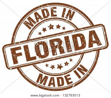 made in Florida brown round vintage stamp.Florida stamp.Florida seal.Florida tag.Florida.Florida sign.Florida.Florida label.stamp.made.in.made in.