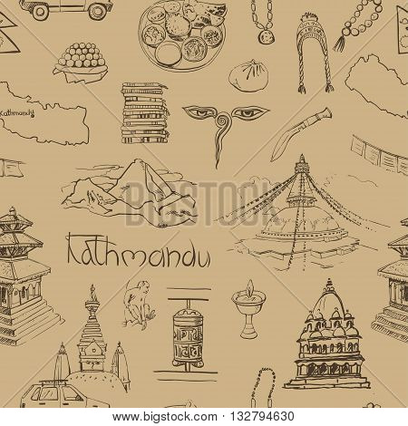 Seamless pattern with traditional food souvenirs religious buildings of Nepal.