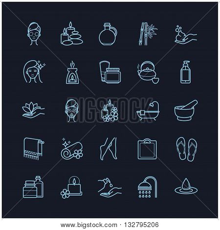 Vector Spa and Beauty thin line icons set on a black background for web, polygraphy, etc.