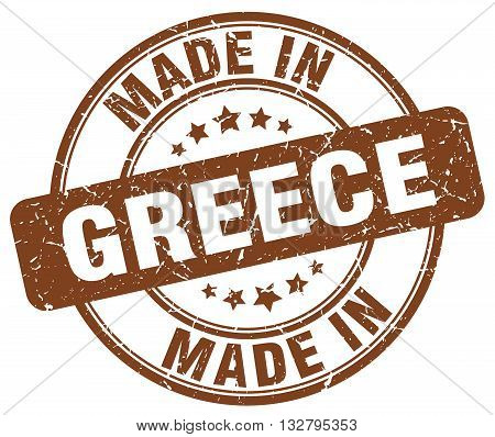 made in Greece brown round vintage stamp.Greece stamp.Greece seal.Greece tag.Greece.Greece sign.Greece.Greece label.stamp.made.in.made in.