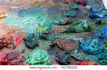 Artist's Palette With Paints Used In The Brushes Palette Oil Paint For Drawing And Painting