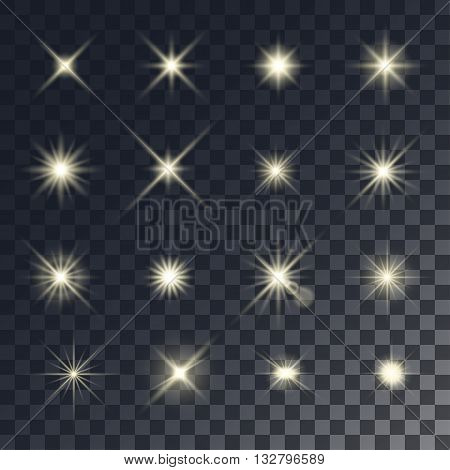 Vector lighting effects. Set of golden glints on transparent like background.