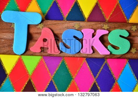 word tasks on a abstract colorful background